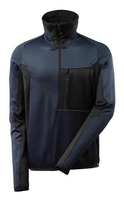 MASCOT® ADVANCED - mörk marin/svart - Fleecetröja med kort blixtlås, modern passform