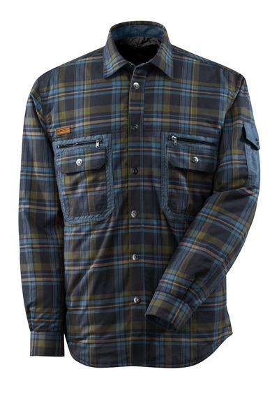 MASCOT® ADVANCED - mörk marin/stenblå* - Termoskjorta av storrutig flanell med kviltfoder