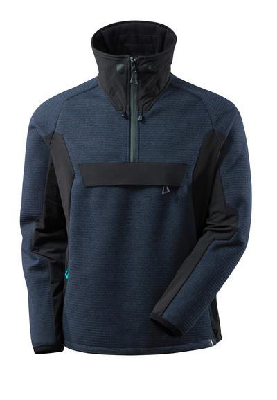 MASCOT® ADVANCED - mörk marin/svart - Stickad jacka med kort blixtlås och membran