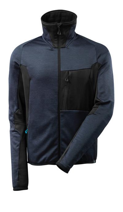 MASCOT® ADVANCED - mörk marin/svart - Fleecetröja med blixtlås, modern passform