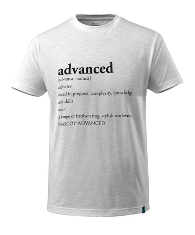 MASCOT® ADVANCED - vit - T-shirt med ADVANCED-text, modern passform