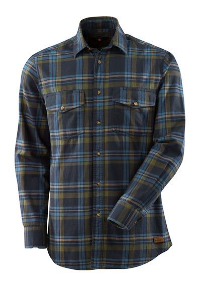 MASCOT® ADVANCED - mörk marin/stenblå - Skjorta av storrutig flanell.