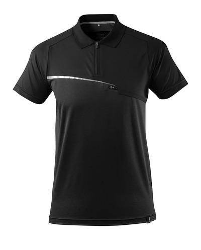 MASCOT® ADVANCED - svart - Pikétröja med bröstficka, fukttransporterande, modern passform