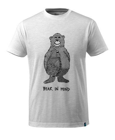 MASCOT® ADVANCED - vit - T-shirt med björnlogo och BEAR IN MIND-text.