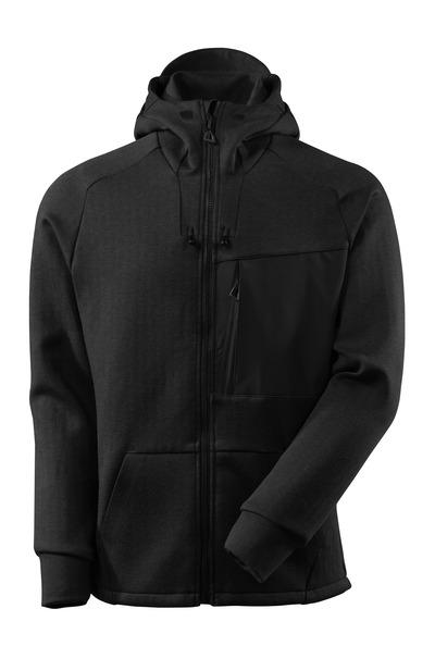 MASCOT® ADVANCED - svart-melerat/svart - Huvtröja med blixtlås, modern passform