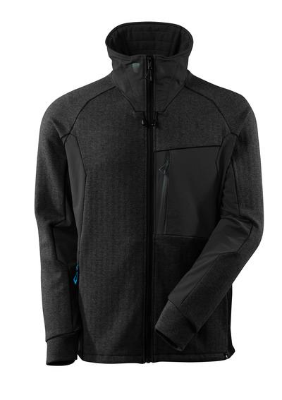 MASCOT® ADVANCED - svart-melerat/svart - Sweatshirt med blixtlås, hög krage, modern passform