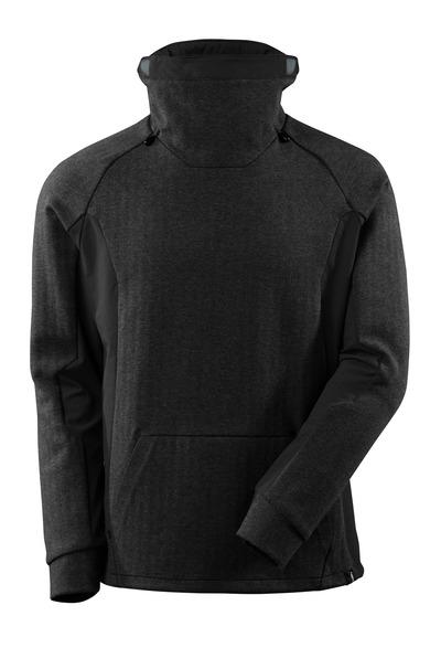 MASCOT® ADVANCED - svart-melerat/svart - Sweatshirt med hög justerbar krage, modern passform