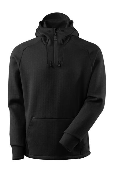 MASCOT® ADVANCED - svart-melerat/svart - Huvtröja med kort blixtlås, modern passform