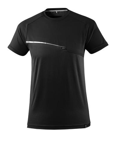 MASCOT® ADVANCED - svart - T-shirt med bröstficka, fukttransporterande, modern passform
