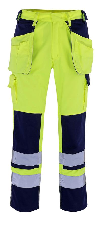 MASCOT® Almas - hi-vis gul/marin - Byxor med knä- och hängfickor, klass 2