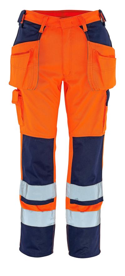 MASCOT® Almas - hi-vis orange/marin - Byxor med knä- och hängfickor, klass 2