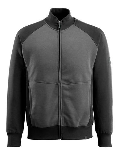 MASCOT® Amberg - mörk antracit/svart - Sweatshirt med blixtlås, modern passform