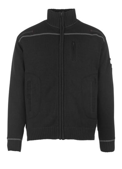 MASCOT® Arta - svart - Stickad tröja med blixtlås. modern passform