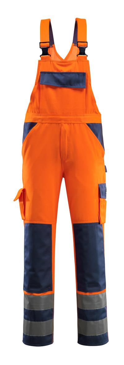 MASCOT® Barras - hi-vis orange/marin - Snickarbyxor med knäfickor, klass 2