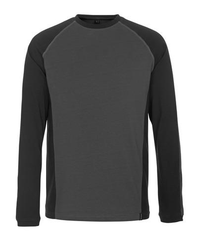 MASCOT® Bielefeld - mörk antracit/svart - T-shirt, långärmad, modern passform