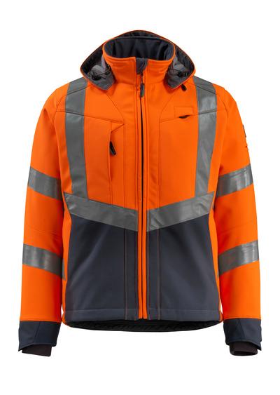 MASCOT® Blackpool - hi-vis orange/mörk marin - Softshelljacka med fleece på insidan, vattenavvisande, klass 3