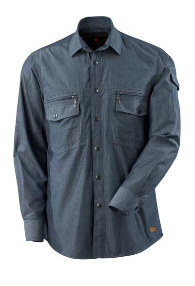 MASCOT® CROSSOVER - tvättat mörk blå denim - Skjorta chambray med foder.