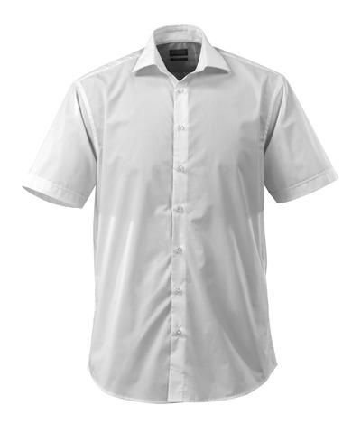 MASCOT® CROSSOVER - vit - Skjorta poplin, klassisk passform, korta ärmar.