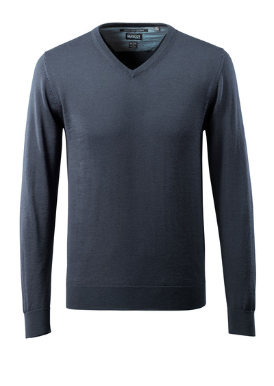 MASCOT® CROSSOVER - mörk marin - Stickad tröja V-hals, med merinoull.
