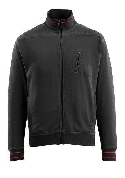MASCOT® Chania - svart - Sweatshirt med blixtlås, modern passform