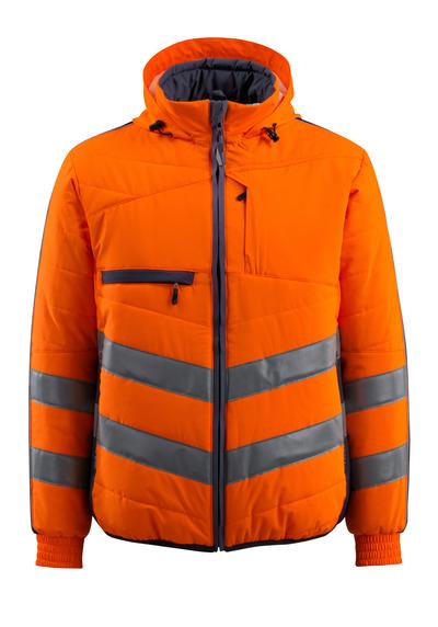 MASCOT® Dartford - hi-vis orange/mörk marin - Jacka med foder och huva, vattenavvisande, klass 2