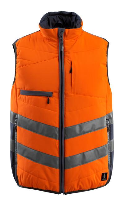 MASCOT® Grimsby - hi-vis orange/mörk marin - Väst, vadderat, vattenavvisande, klass 1