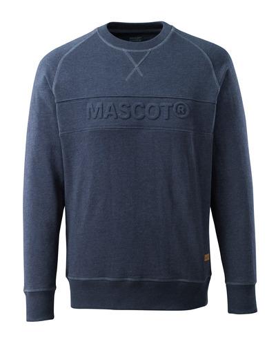 MASCOT® HARDWEAR - tvättat mörk blå denim* - Sweatshirt med MASCOT relief, modern passform