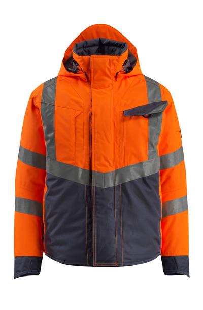 MASCOT® Hastings - hi-vis orange/mörk marin - Vinterjacka, fodrad, vattentätt, klass 3