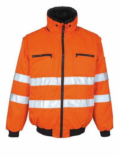 MASCOT® Innsbruck - hi-vis orange - Pilotjacka med avtagbart pälsfoder, vattenavvisande, klass 2