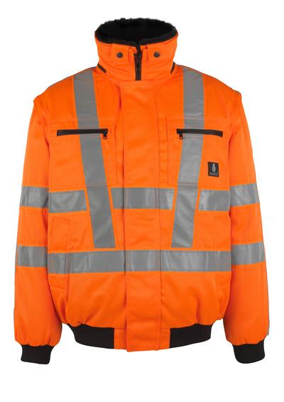 MASCOT® Innsbruck - hi-vis orange - Pilotjacka med avtagbart pälsfoder, vattenavvisande, klass 3