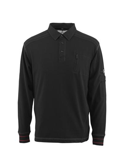MASCOT® Ios - svart - Pikésweatshirt med bröstficka, modern passform