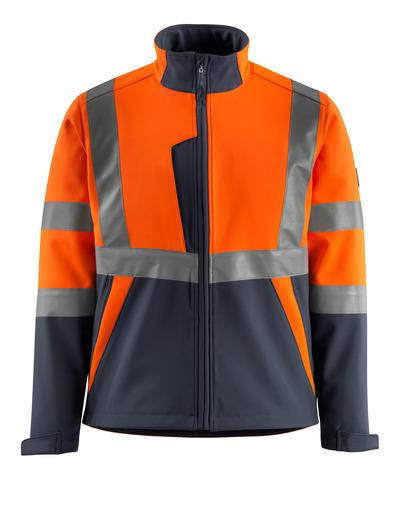 MASCOT® Kiama - hi-vis orange/mörk marin - Softshelljacka med fleece på insidan, kl. 2