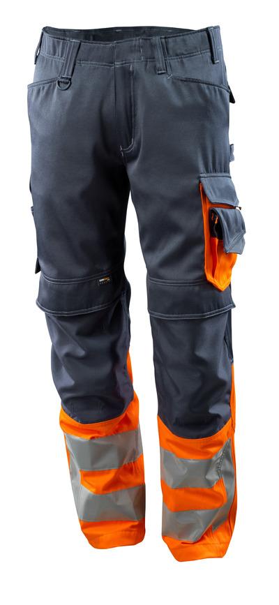 MASCOT® Leeds - mörk marin/hi-vis orange - Byxor med CORDURA®-knäfickor, klass 1