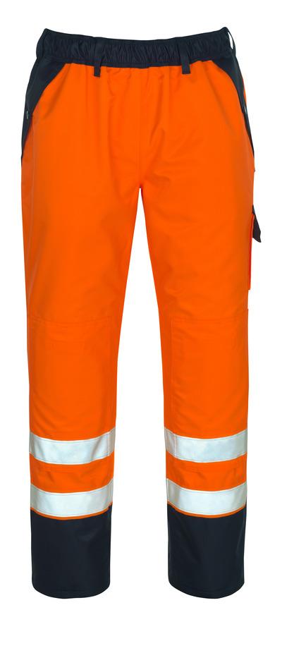 MASCOT® Linz - hi-vis orange/marin - Överdragsbyxor med knäfickor, vattentätt MASCOTEX®, klass 1/2