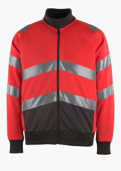MASCOT® Maia - hi-vis röd/mörk antracit* - Sweatshirt med blixtlås, modern passform, klass 2