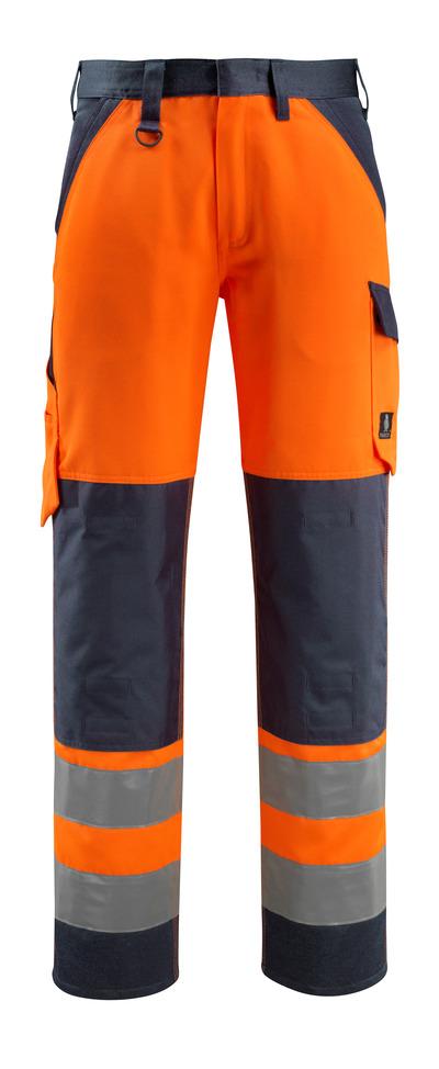 MASCOT® Maitland - hi-vis orange/mörk marin - Byxor med knäfickor, klass 2