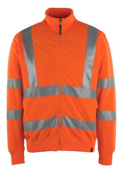 MASCOT® Maringa - hi-vis orange - Sweatshirt med blixtlås, modern passform, klass 3
