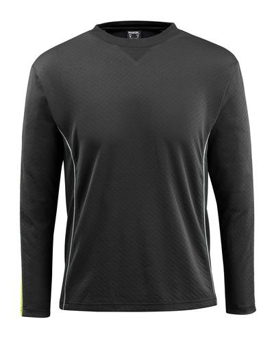 MASCOT® Montilla - svart/hi-vis gul - T-shirt med hi-viskontrast, långärmad, modern passform