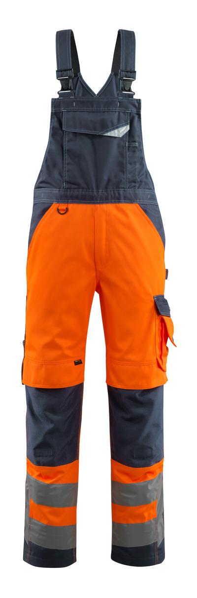 MASCOT® Newcastle - hi-vis orange/mörk marin - Snickarbyxor med knäfickor, klass 2