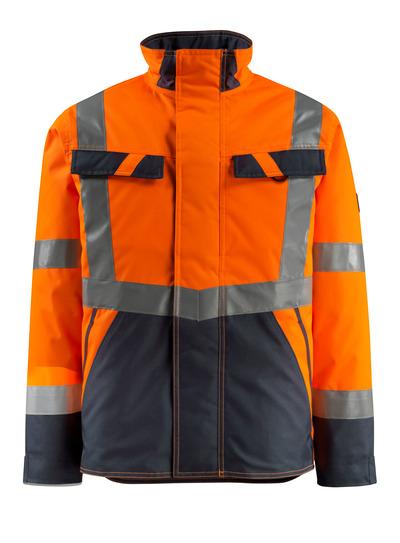 MASCOT® Penrith - hi-vis orange/mörk marin - Vinterjacka med kviltfoder, vattenavvisande, klass 3