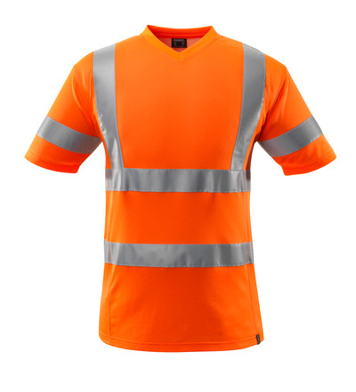 MASCOT® SAFE CLASSIC - hi-vis orange - T-shirt, V-hals, modern passform, klass 2