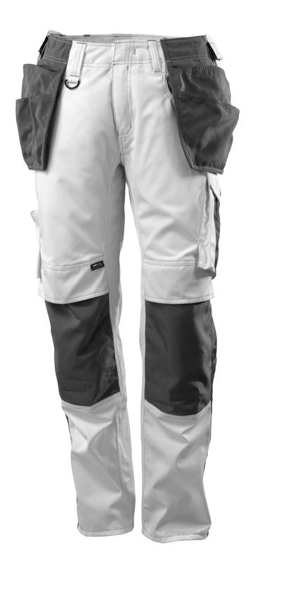 MASCOT® UNIQUE - vit/mörk antracit - Byxor med CORDURA®-knä- och hängfickor, låg vikt