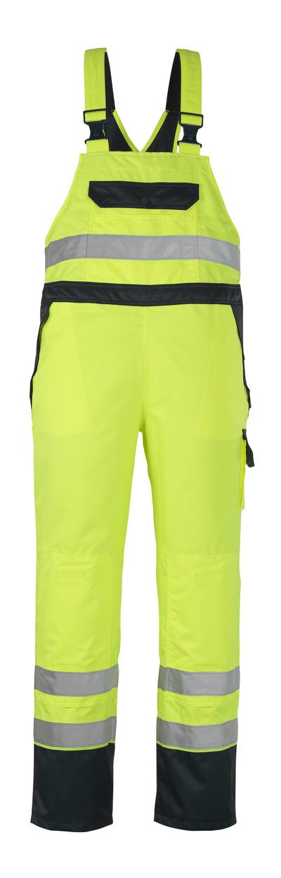 MASCOT® Wels - hi-vis gul/marin - Överdragssnickarbyxor med knäfickor, vattentätt MASCOTEX®, klass 2