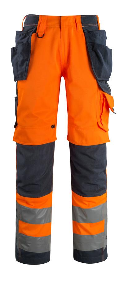 MASCOT® Wigan - hi-vis orange/mörk marin - Byxor med CORDURA®-knä- och hängfickor, hög slitstyrka, klass 2
