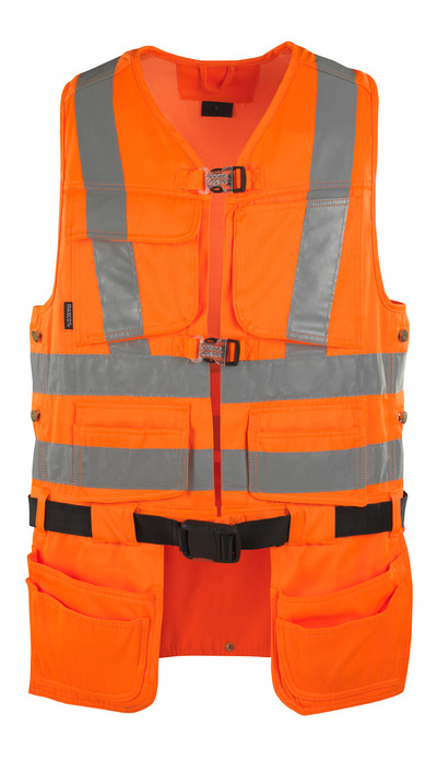 MASCOT® Yorkton - hi-vis orange - Verktygsväst med fyra hängfickor, klass 2/2