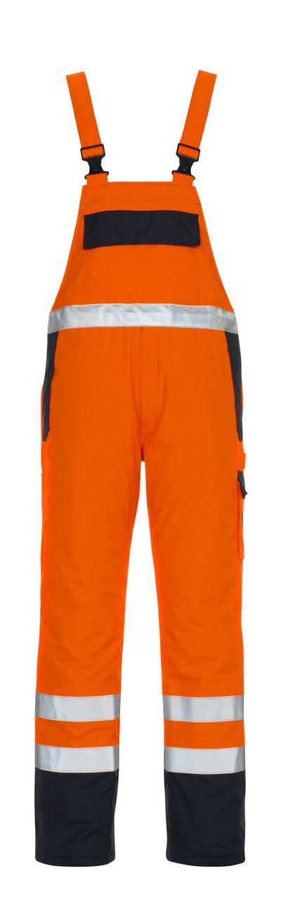 MASCOT® Zug - hi-vis orange/marin* - Snickarbyxor med foder, multiskydd, vattentätt, klass 2/2